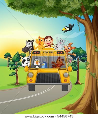 Illustration of a group of animals traveling