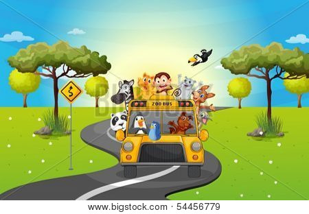 Illustration of a zoo bus traveling loaded with animals