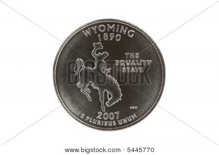 Wyoming State Quarter Coin With Clipping Path