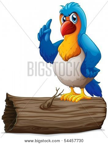 Illustration of a parrot above a log on a white background