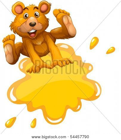 Illustration of an empty template and a playful bear on a white background