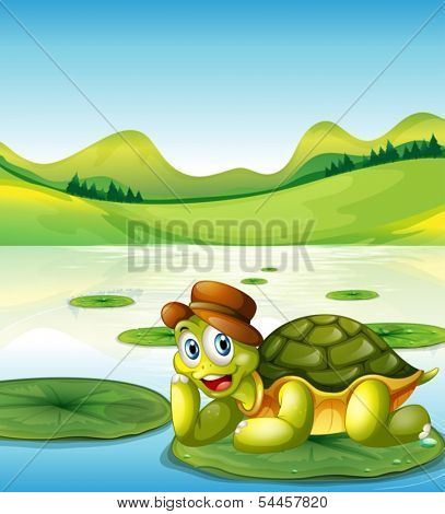 Illustration of a happy turtle above the floating waterlily