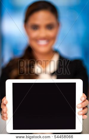 Corporate Lady Showing Tablet