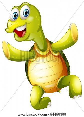 Illustration of a smiling turtle on a white background