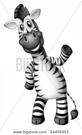 Illustration of a smiling zebra standing on a white background
