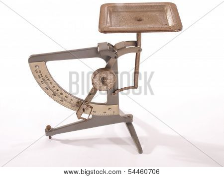 Antique Postage Scale On White Background