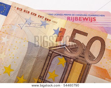 50 Euro Banknote And Car License