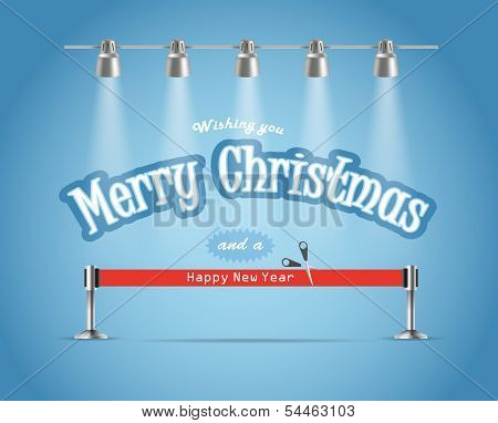 Photo realistic bright stage with projectors and red ribbon. Christmas greetings