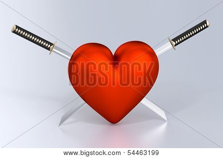 Heartbreak - Heart and Two Crossed Katanas