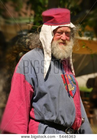 Old Man In Medieval Clothes