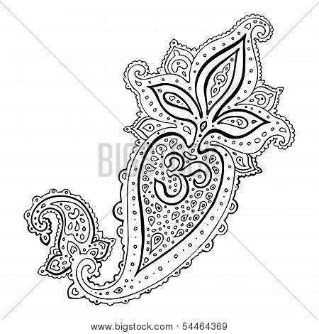 Paisley. Ethnic ornament. Om Aum Symbol.