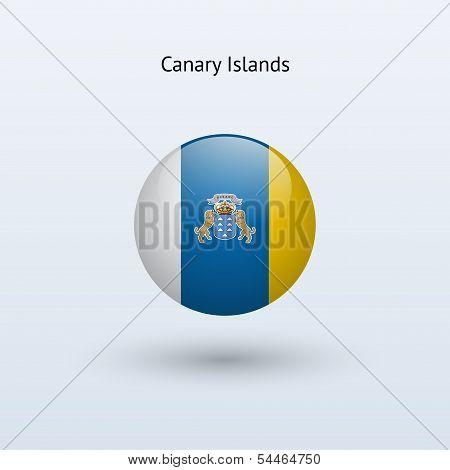 Canary Islands round flag. Vector illustration.
