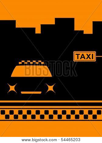 night cab car and taxi stop