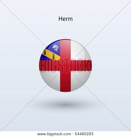 Herm round flag. Vector illustration.
