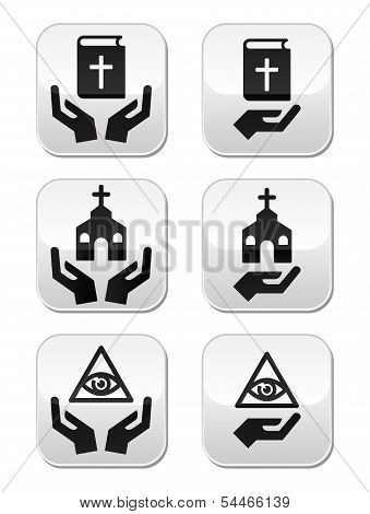 Religion buttons - hands with bible, church, eye of god
