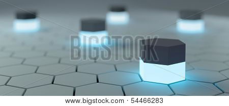 Abstract hi-tech background with hexagons around and ambient blue light sources. 3D render.