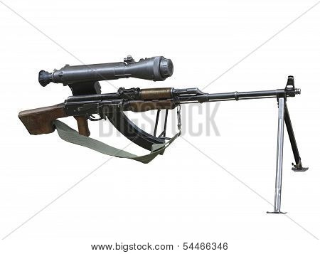 Kalashnikov Ak Gun With Optical Sight Isolated Over White
