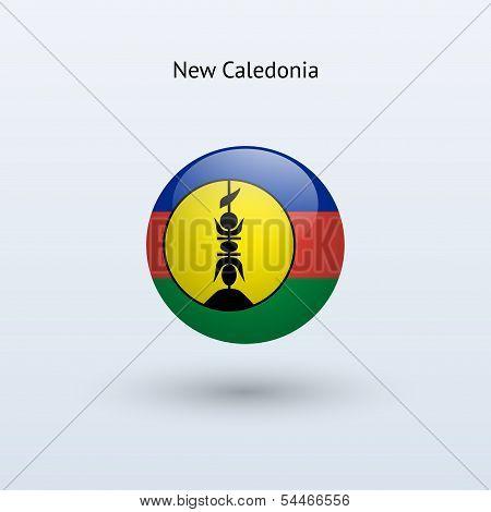 New Caledonia round flag. Vector illustration.
