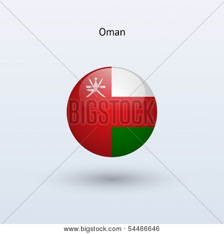 Oman round flag. Vector illustration.