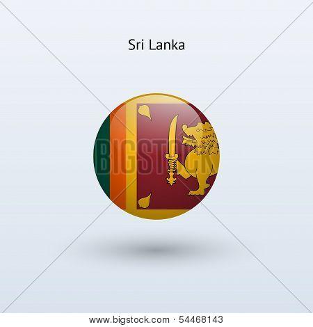 Sri Lanka round flag. Vector illustration.