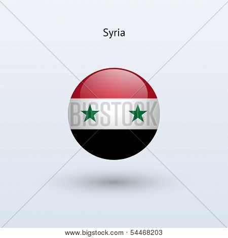 Syria round flag. Vector illustration.