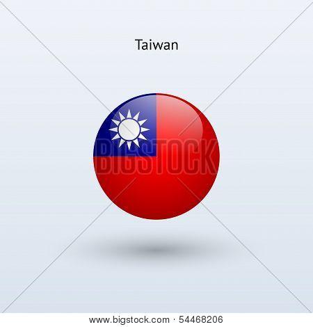 Taiwan round flag. Vector illustration.