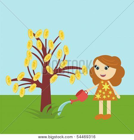nice girl watering money tree