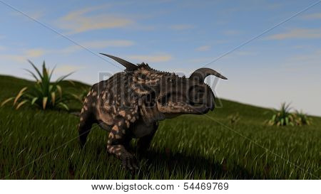 dinosaur in grass field