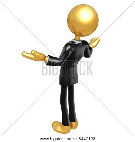 Personagem de ouro cara de empresário
