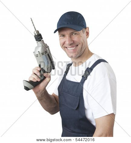 Portrait Of Smiling Worker In Blue Uniform With Drill Isolated On White Background