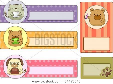Illustration of Ready to Print School Labels Featuring Cute Animals