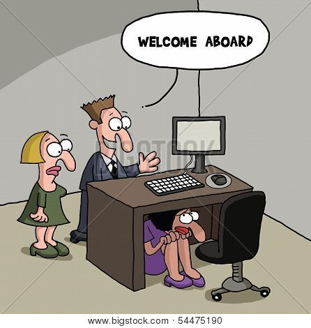 New office worker cartoon gag
