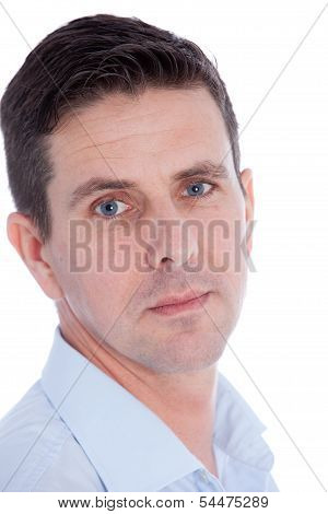 Concerned Man Staring Directly At The Camera