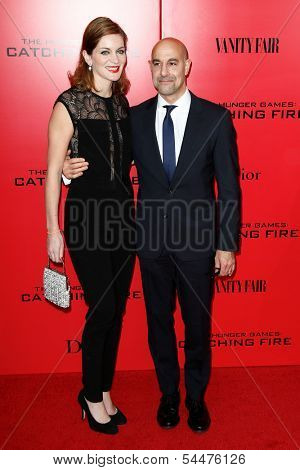 NEW YORK-NOV 20; Actor Stanley Tucci (R) and wife Felicity Blunt attend