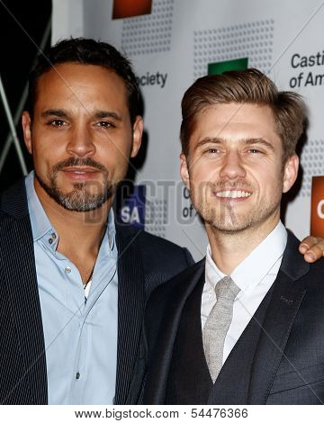 NEW YORK-NOV 18; Actors Daniel Sunjata and Aaron Tveit (r) attend the CSA 29th Annual Artios Awards ceremony at the XL Nightclub on November 18, 2013 in New York City.