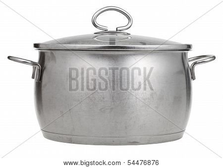 Stainless Steel Saucepan Covered By Glass Lid
