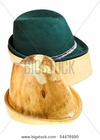 Bavarian Felt Hat On Linden Wooden Block