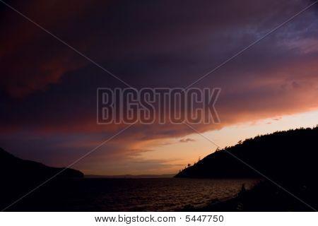 Sunset On Anacortes Island, Puget Sound, Washington