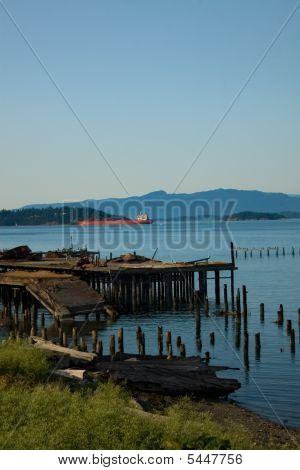 Broken Dock And Oil Tanker In Puget Sound