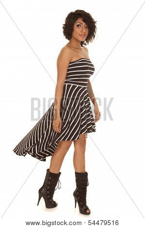 Hispanic Woman Striped Dress Heel Boots