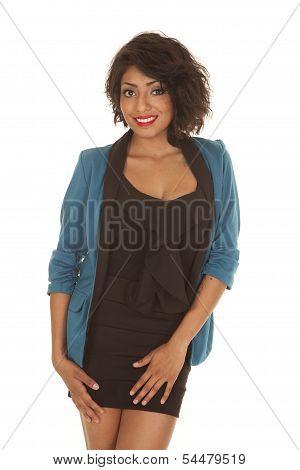Woman Black Dress Blue Jacket Smile