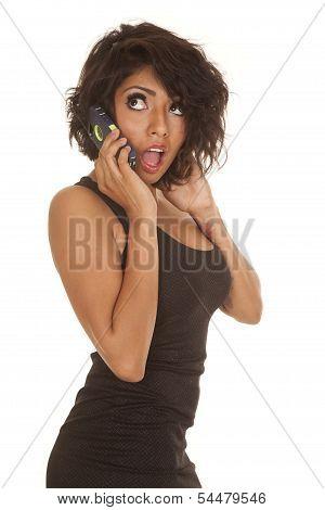 Woman Black Short Dress Phone Shocked