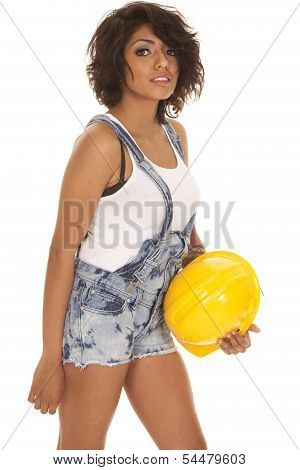 Woman Overall Shorts Hard Hat Look
