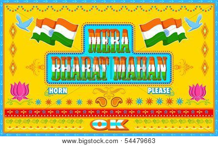 illustration of Mera Bharat Mahan ( My India is great ) in truck paint style