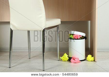 Garbage bin, on office background