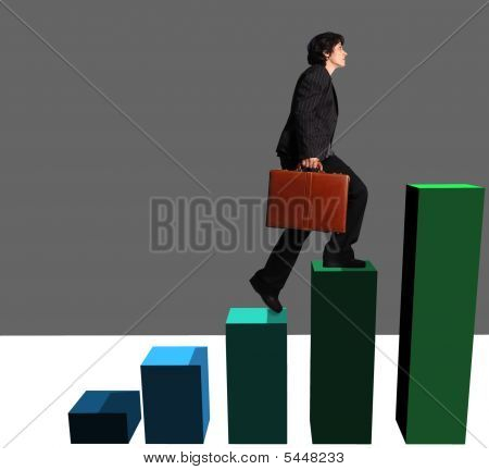 Business Woman Ascending A  Graph