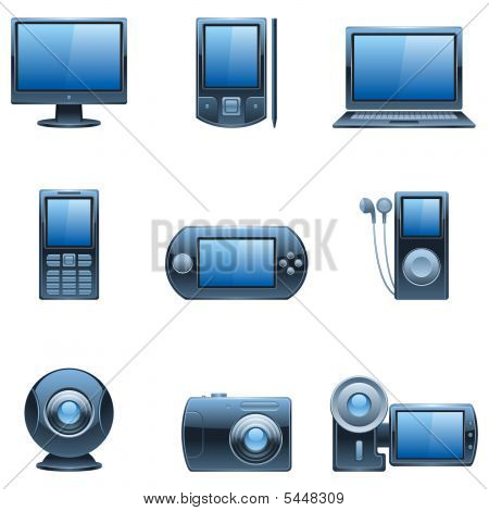 Nine Dark Blue Computer And Media Icons.