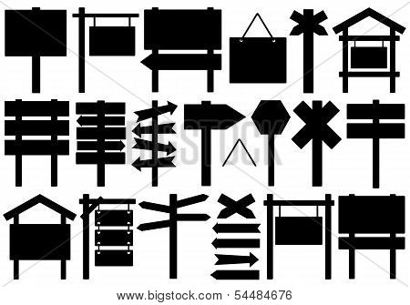 Set of different directional signs