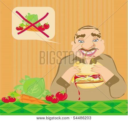 Funny Man Eating Hamburger
