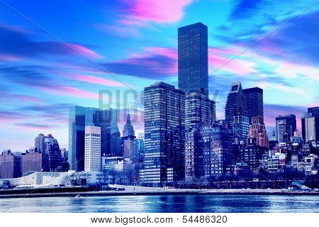 View of New York City at sunset.